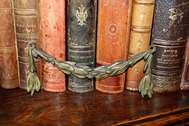 Antique French Bronze Ormolu Laurel Leaf Swags Trim Ornamental Mount Hardware Repurpose 4 Available by VintageFleaFinds on Etsy