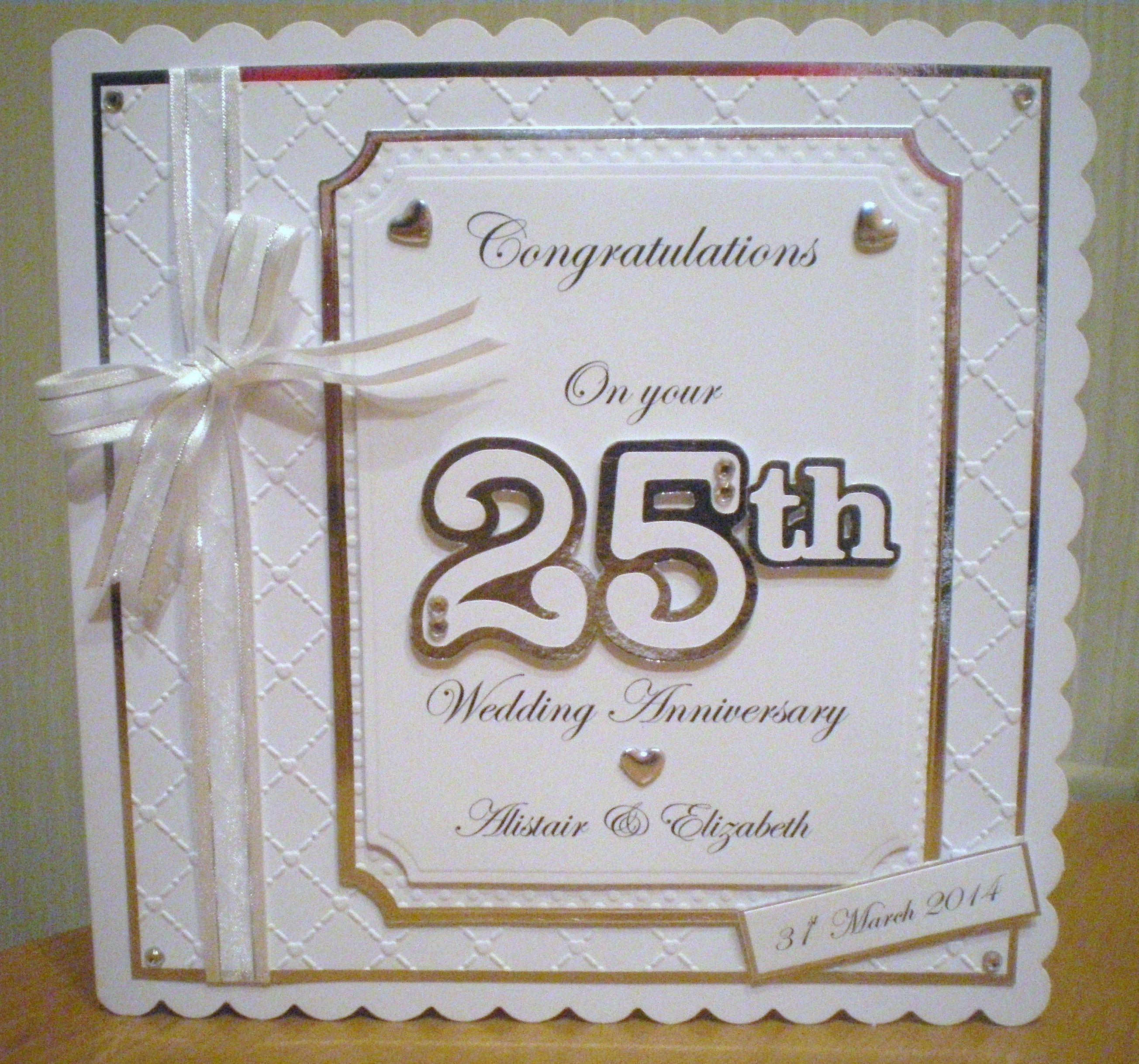 25th Anniversary Card Using Spellbinders And Cricut Design Make Wedding Invitations 50th Anniversary Cards Anniversary Cards Marriage Anniversary Cards