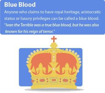 Blue Blood = A member of the aristocracy (avoir du sang bleu)