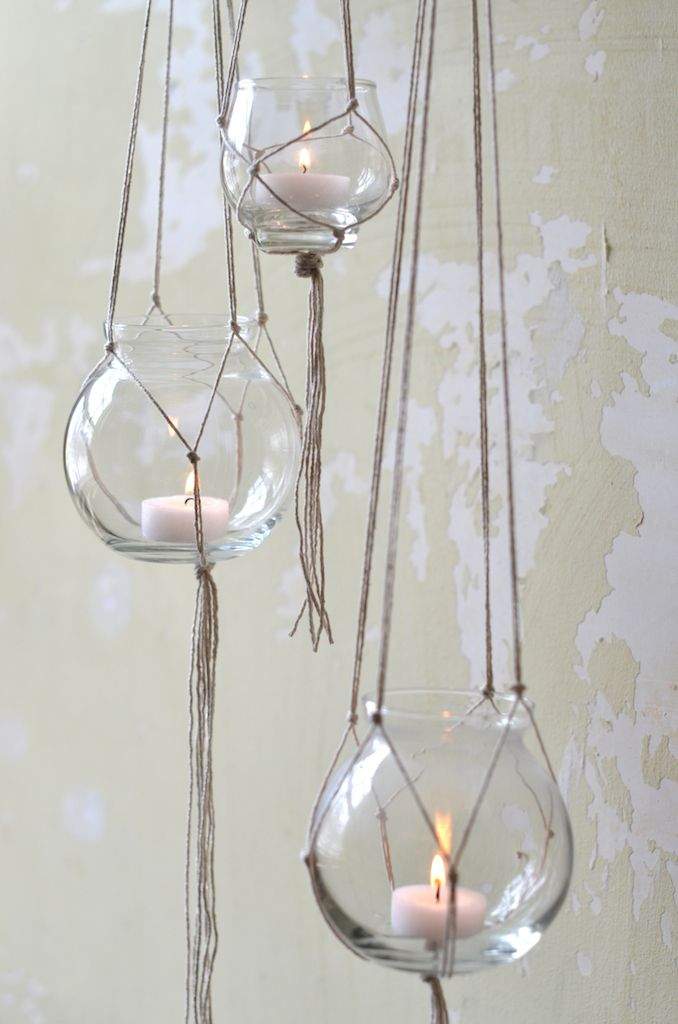 Hanging candle holders idea great for on the deck maybe for Diy hanging tea light candle holders