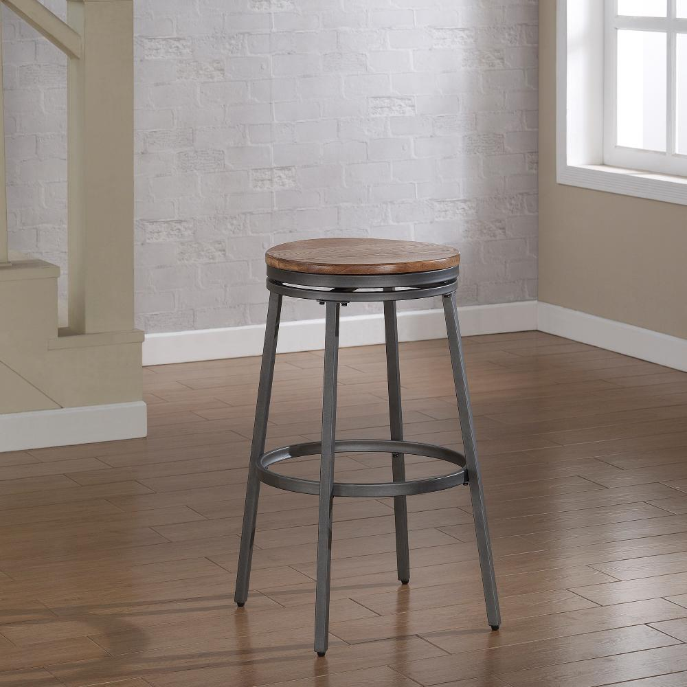 American Woodcrafters Stockton 25 In Grey Backless Swivel Counter Stool Slate Grey Powder Coating Backless Bar Stools Grey Bar Stools Swivel Bar Stools