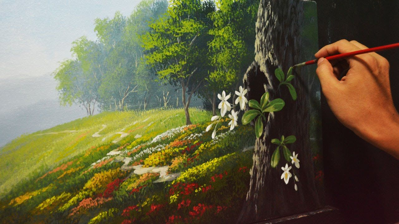 Acrylic landscape painting lesson garden and orchids by for How to acrylic paint