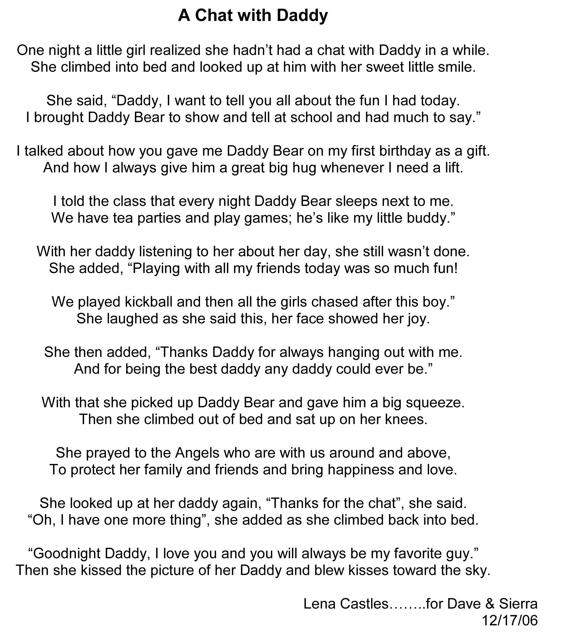 Uncategorized I Love You Daddy Poems birthday in heaven poem bear a david story diy poems