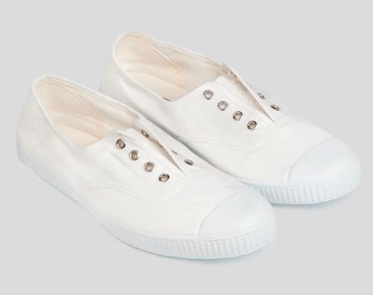 Hampton Canvas Plum Shoes in White