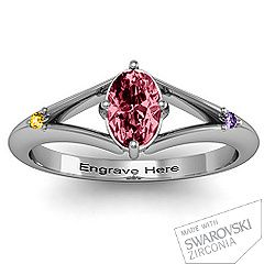 Oval Split Shank Accent Ring with husband, son & my birthstone. WANT IT!