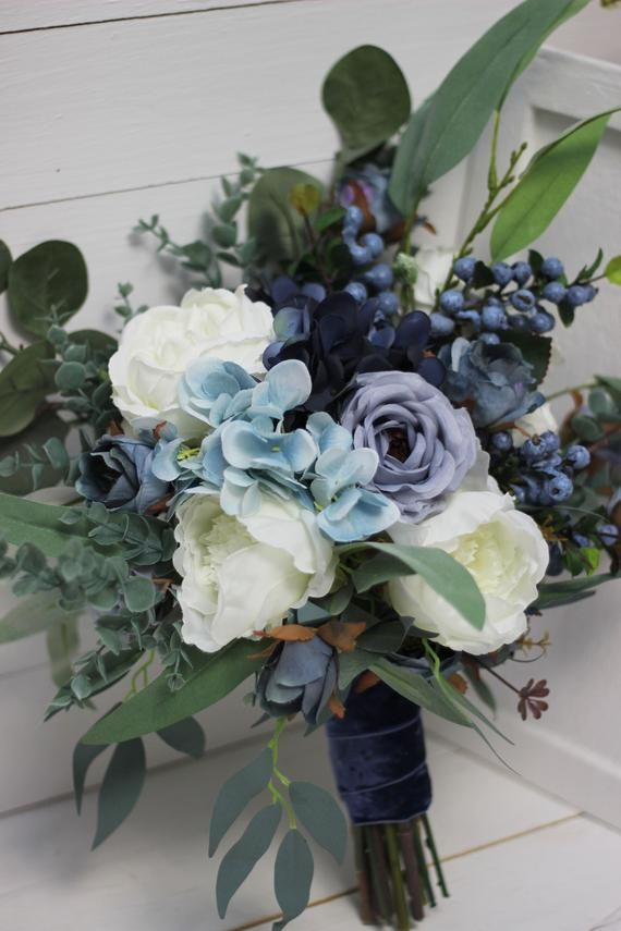 Dusty blue bridal bouquet Faux bouquet Velvet wedding Wedding flowers Pale blue - size 20 inch