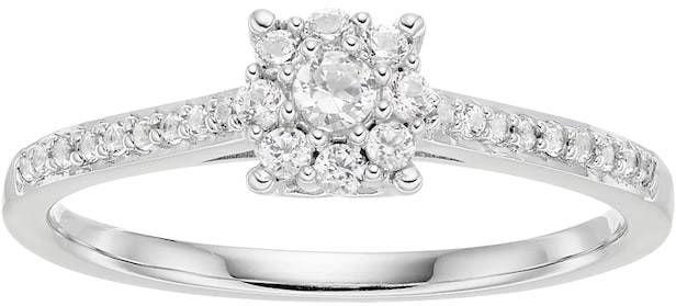 1c7cb90c7 Lovemark 10k White Gold 1/4 ct. T.W. Diamond Cluster Engagement Ring ...