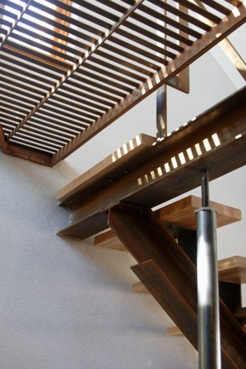 steel and wood stair detail