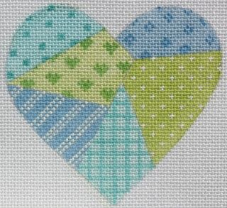 Mini Patchwork Heart - Soft Turquoise, Blues & Greens.