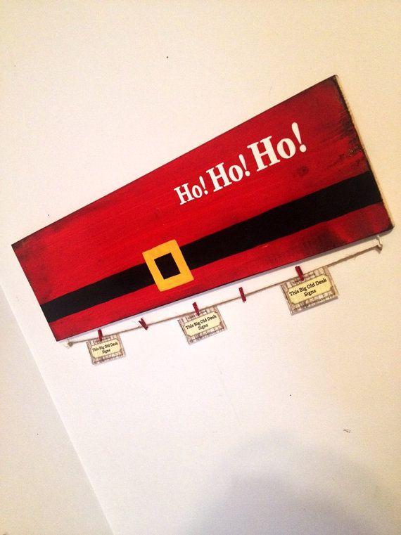 Santa Holiday Card Holder Ho Ho Ho Wood by ThisBigOldDeskSigns