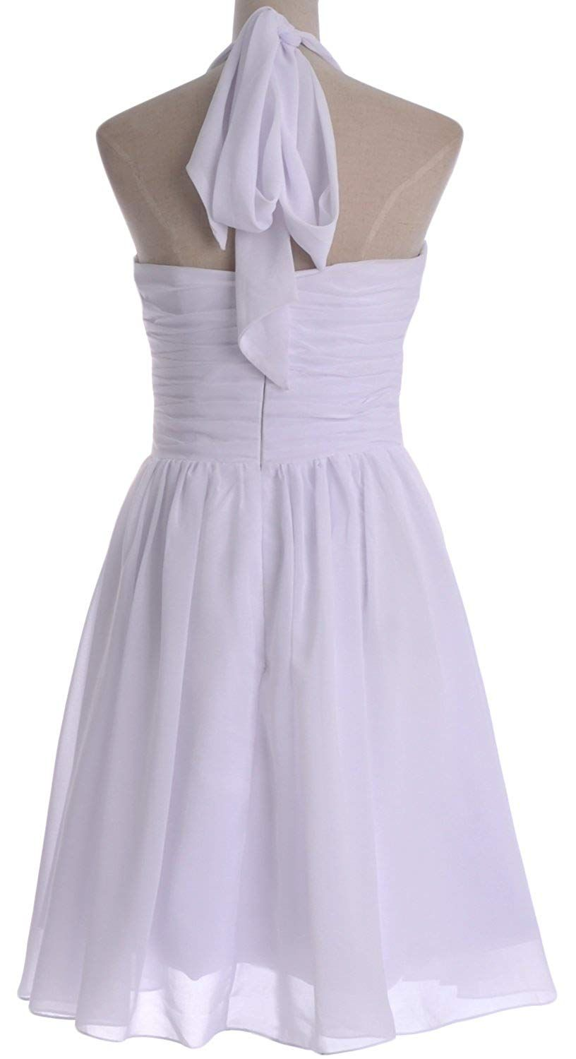 Macloth vintage short bridesmaid dress halter chiffon wedding party
