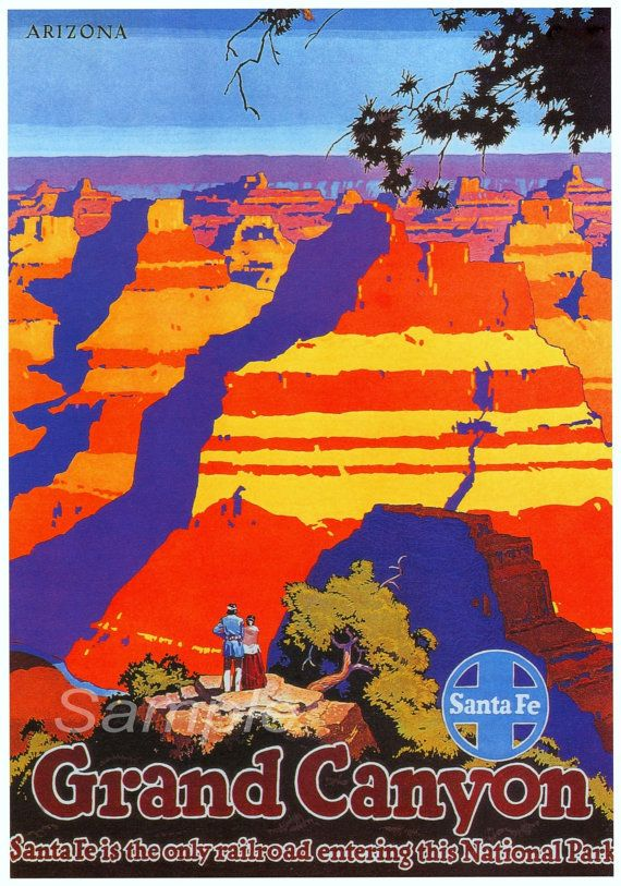 Stampa del manifesto del viaggio vintage Grand Canyon Santa Fe