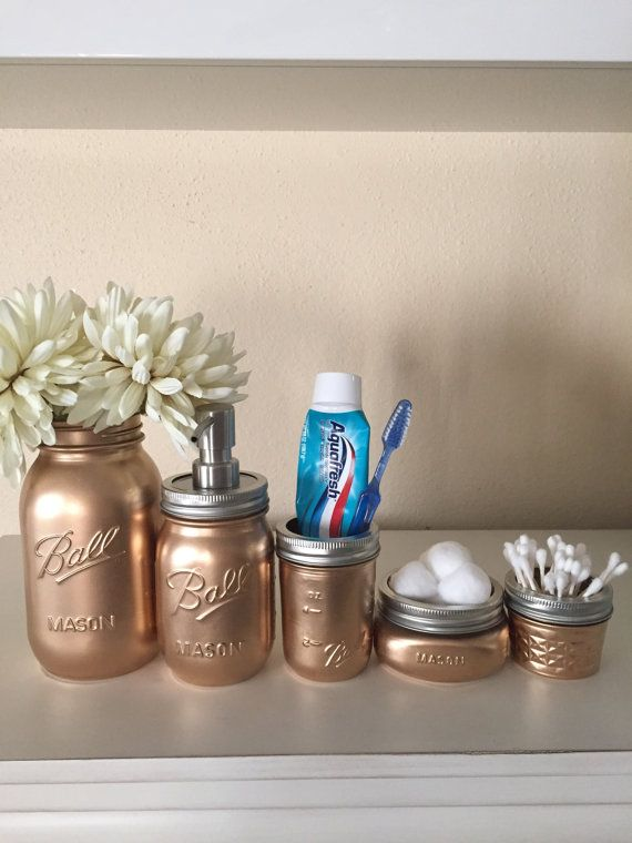 Gold Metallic Mason Jar Bathroom Set Ball By DarlinsCraftyDesigns - Metallic gold bathroom accessories