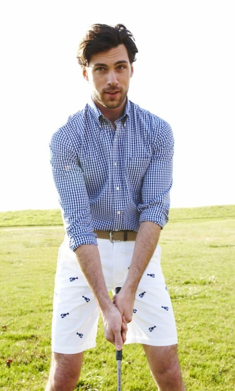 824623c2c1fd Shop this look on Lookastic: https://lookastic.com/men/looks/navy-and-white- gingham-dress-shirt-white-and-navy-print-shorts-brown-canvas-belt/12036 —  Navy ...