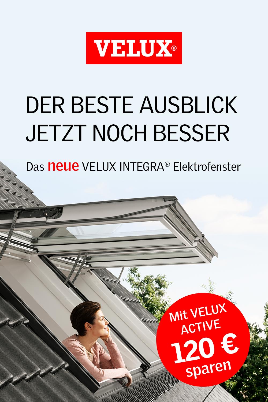 120 € mit VELUX ACTIVE sparen – das neue VELUX INTEGRA© Elektrofenster