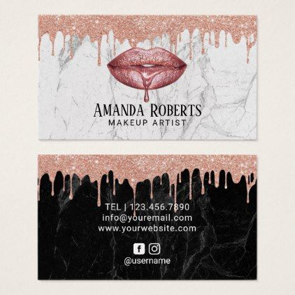Makeup Artist Rose Gold Dripping Lips Chic Marble Business Card