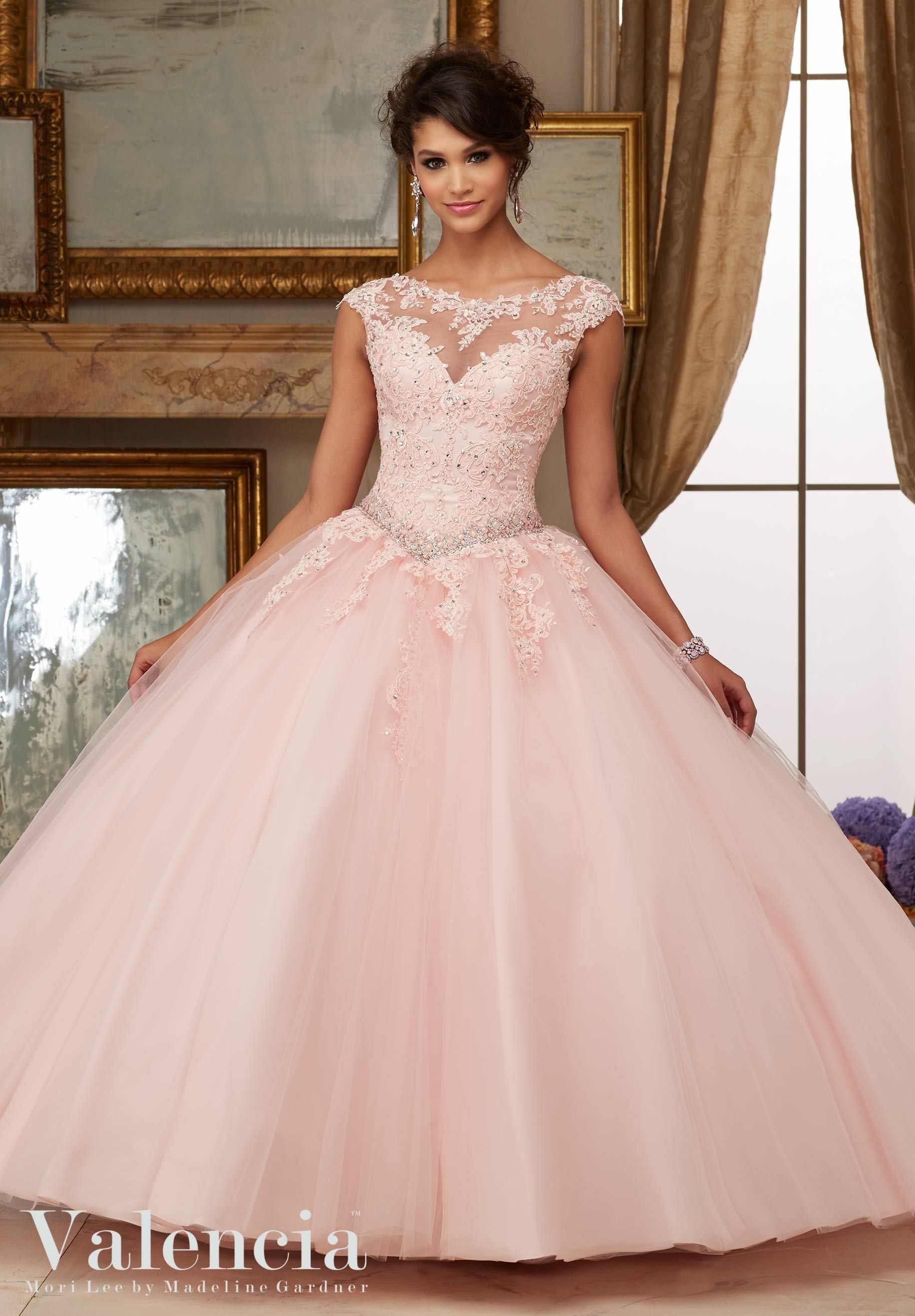 94d6f024cbd Quinceanera Dress 60006 Crystal Beaded Lace Appliques on Tulle Ball Gown