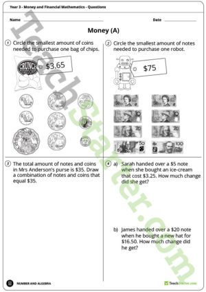 Money and Financial Mathematics Worksheets – Year 3