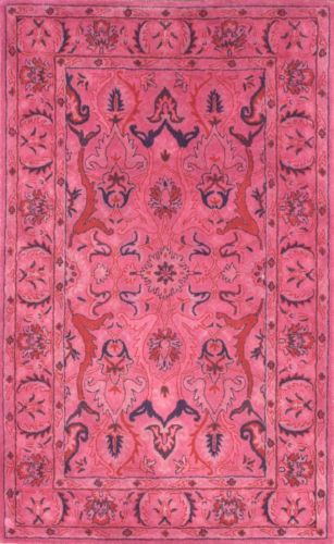 Anthropologie Hand Tufted Wool Overdyed Daedel Rug Pink Transitional Bohemian