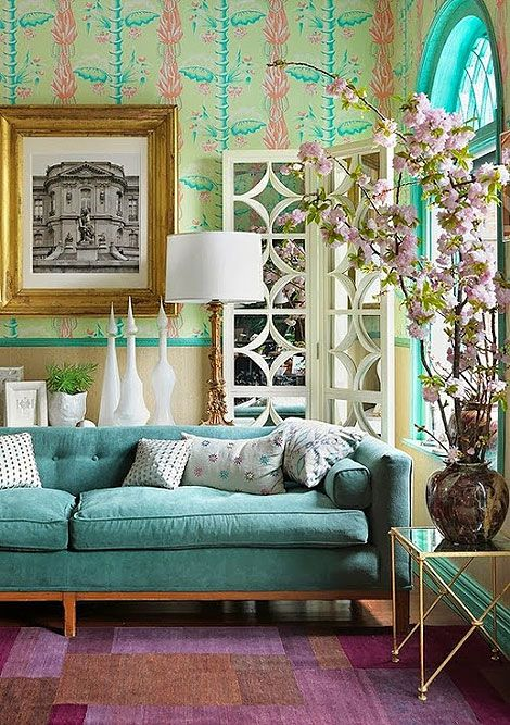 Turquoise, Gold and Pink Flowers Living Room   Picsdecor.com