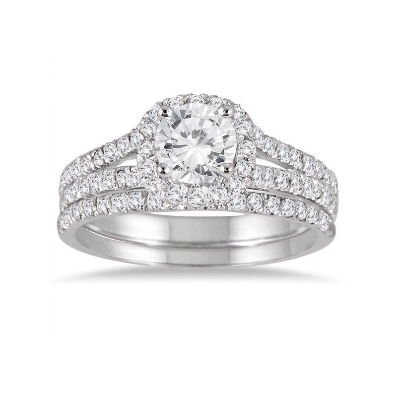 Clic Twin Row 1 Carat Round Diamond Wedding Ring Set For Women