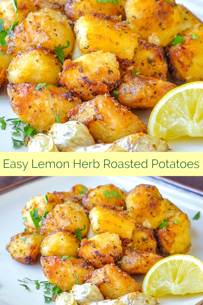 Lemon Herb Roasted Potatoes cut into small potato nuggets ensure crispy flavour in every bite. One of the most popular side dishes ever to be featured on this site and an all-out Pinterest hit. #sidedishes #potatorecipes #sundayroast #thanksgiving