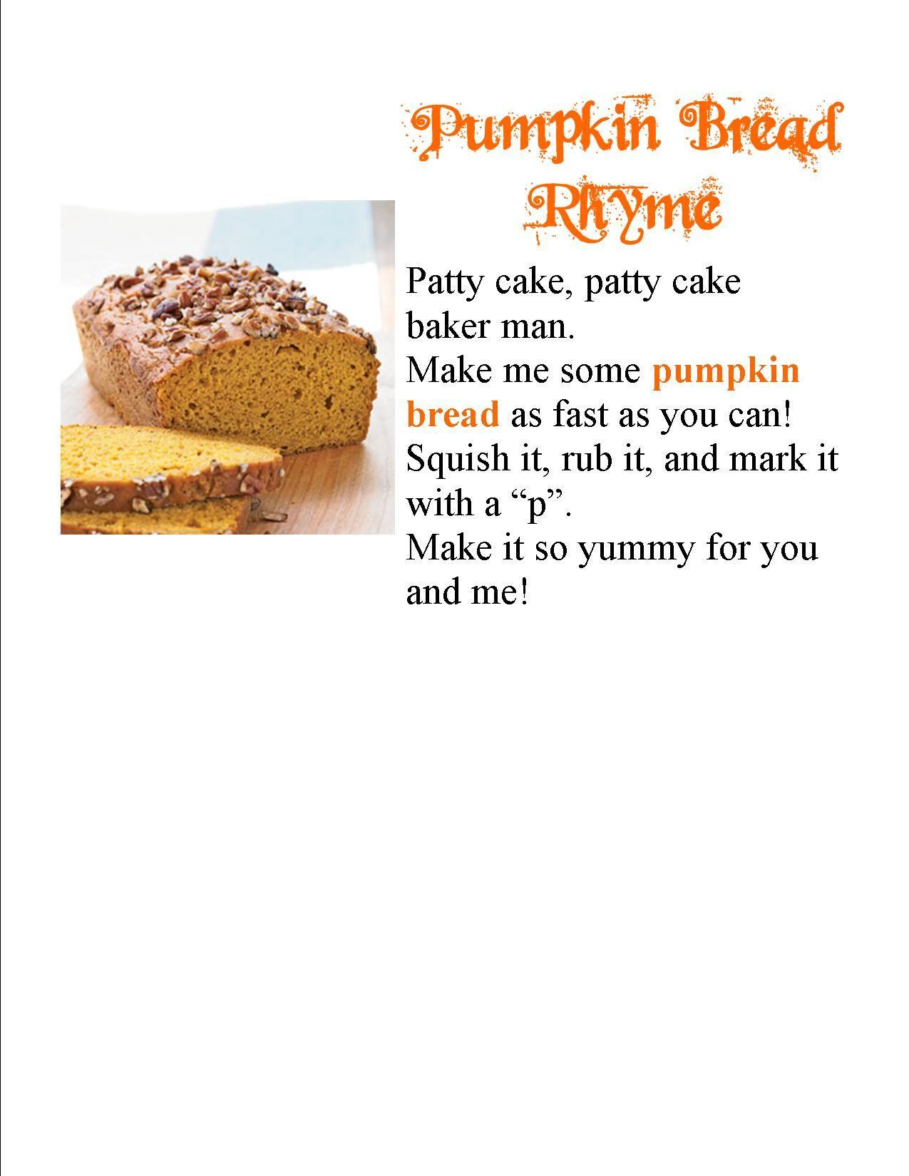 Pumpkin Bread Rhyme With Images Pumpkin Bread Food Pumpkin