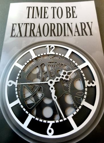"""Time to Be Extraordinary"" 5-panel laser cut clock brochure. #lasercutting #design #print"