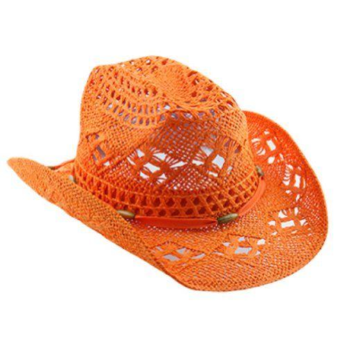 Straw Orange Cowboy Hat for Women with Shapeable Brim Vamuss http   www. a81d9de4cdf