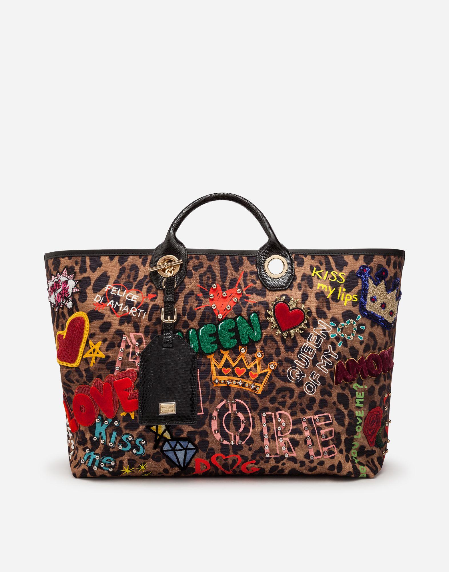 7e00dae1b4fc Dolce Gabbana SHOPPING CAPRI IN TESSUTO STAMPATO CON APPLICAZIONI PATCHES E  PROFILI IN VITELLO STAMPA IGUANA