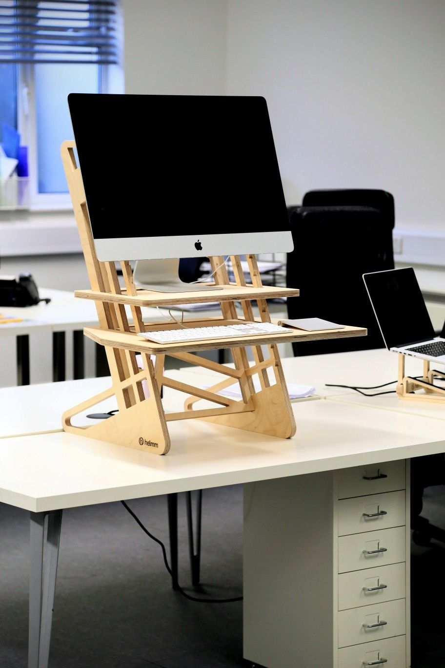 Standing Desk Converter By Helmm Co Adjustable Height Cnc Fabricated In The Uk From Sustainable Birch Pl In 2020 With Images Standing Desk Furniture Design Wooden Standing Desk