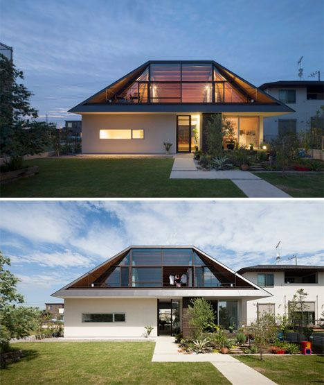Glass Sided Hipped Roof Mimics Lost Mountain in Japan