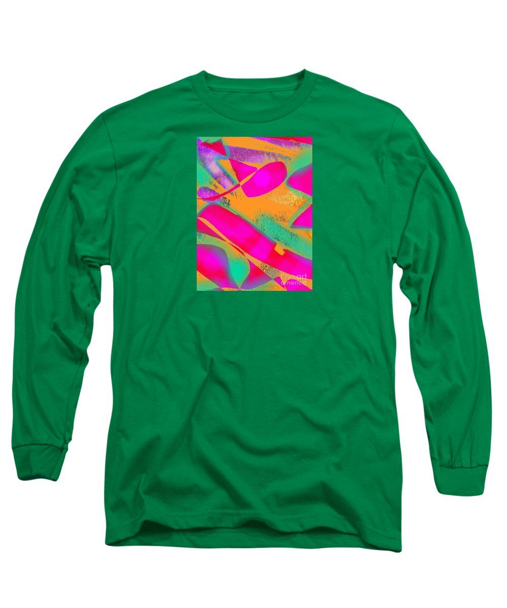 Minimalist Colorful Abstract Artwork Odd Color Combination That Works Anyway Long Sleeve T-Shirt featuring the digital art Spot by Expressionistartstudio Priscilla-Batzell
