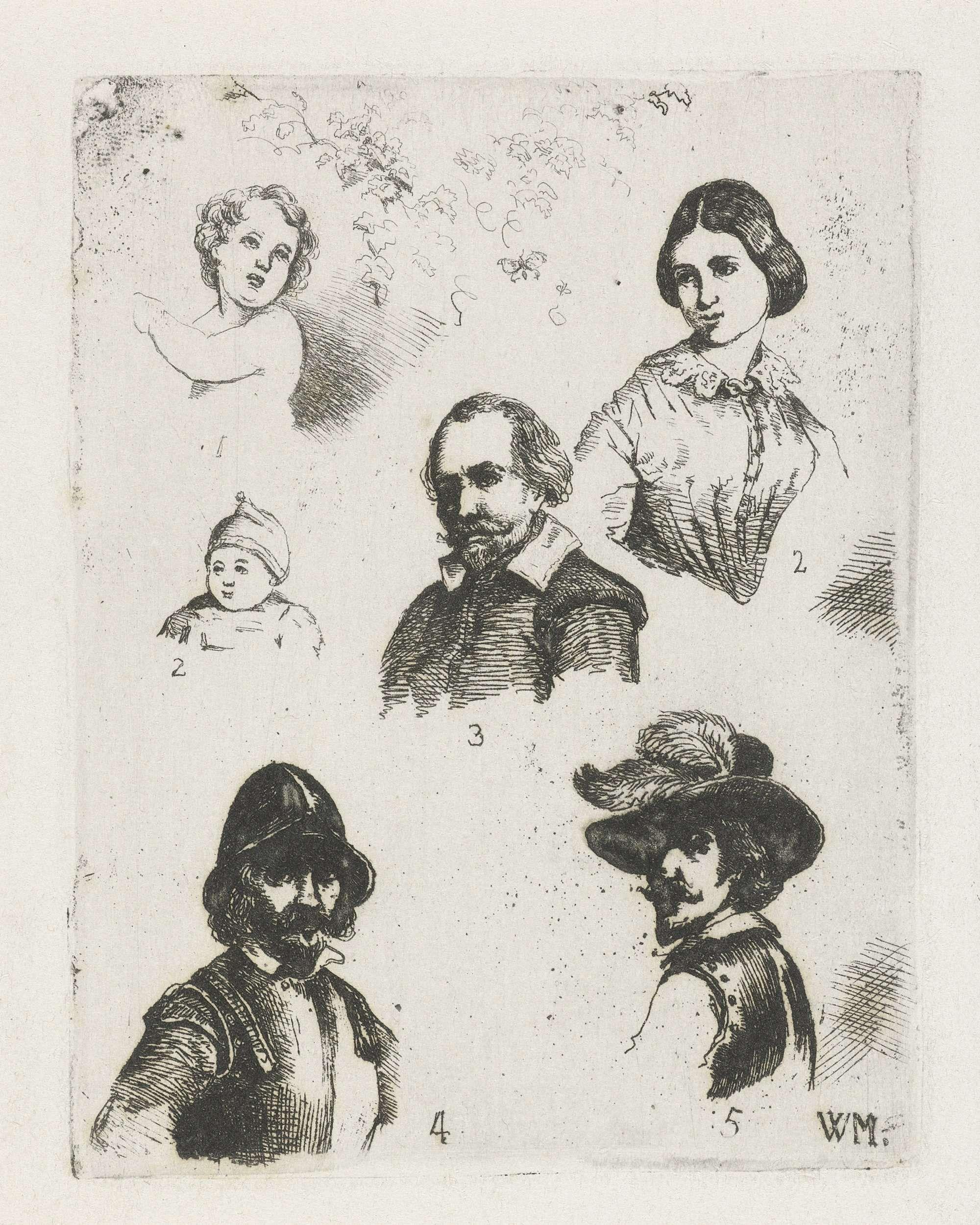 Christiaan Wilhelmus Moorrees | Studieblad met zes bustes, Christiaan Wilhelmus Moorrees, 1811 - 1867 | Studieblad met zes genummerde bustes. Linksboven een putto onder gebladerte, rechtsboven een vrouw. In het midden een baby en een man. Linksonder een man met een helm en rechtsonder een man met een veer op zijn hoed.