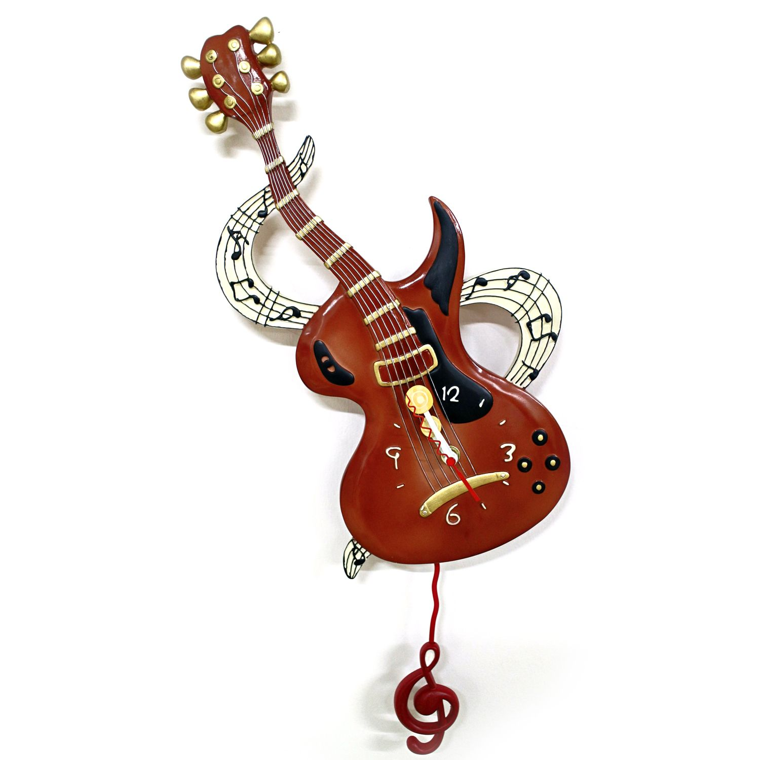 This ROCKN ROLL ELECTRIC GUITAR PENDULUM WALL CLOCK from