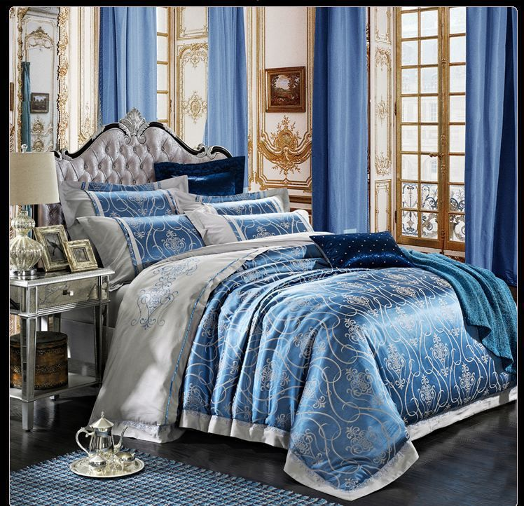 Jacquard Bedding Set Queen King Size 4pcs Satin Quilt Duvet Cover