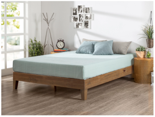 New King Size Solid Pine Wood Bed Frame Platform Slats Rustic Minimalist Design Wood Platform Bed Solid Wood Platform Bed Platform Bed Frame