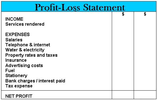 Business profit and loss create a statement for your capture small