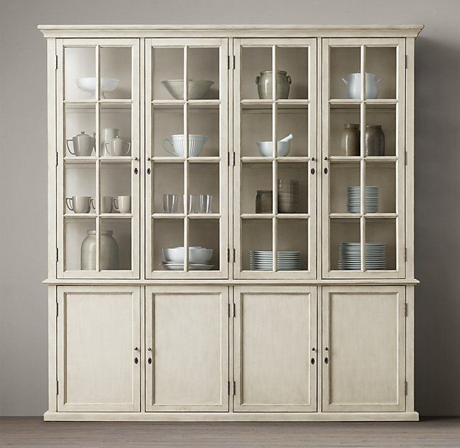 Hampton Casement Panel Sideboard Glass Hutch X