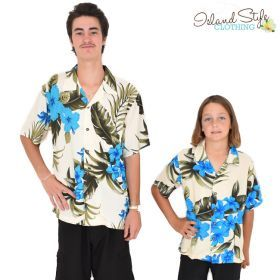 b20d5073fa5f Father Son Matching hawaiian shirts Cream & Blue leaf. Cruisewear, Luau  party, Family