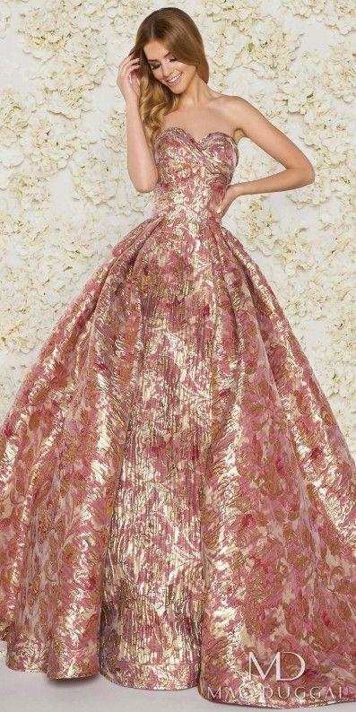 Mac Duggal Strapless Sweetheart Metallic Floral Print Ball Gown ...