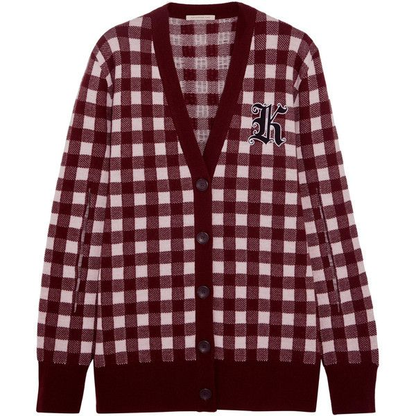 Christopher Kane Gingham wool and cashmere-blend cardigan (11.090 NOK) ❤ liked on Polyvore featuring tops, cardigans, sweaters, jackets, outerwear, burgundy, cardigan top, burgundy top, short-sleeve cardigan and wool cardigan