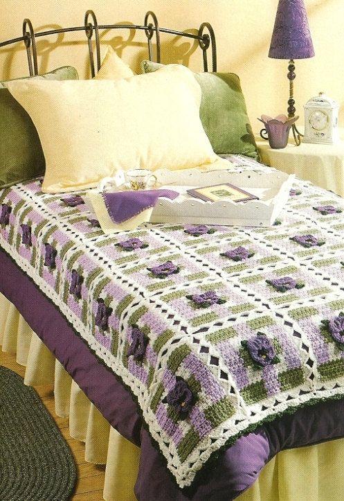 ❀ 👩 ❀ Cobertor em Crochê Amor-Perfeito e Avó Quadrados Padrão -  / ❀ 👩 ❀ Pansy and Granny Squares Blanket on Crocheted Pattern -