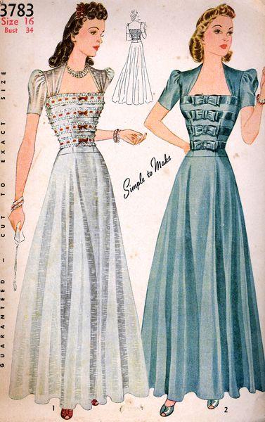 1941 Simplicity 3783 | Moda fashion, Simplicity patterns