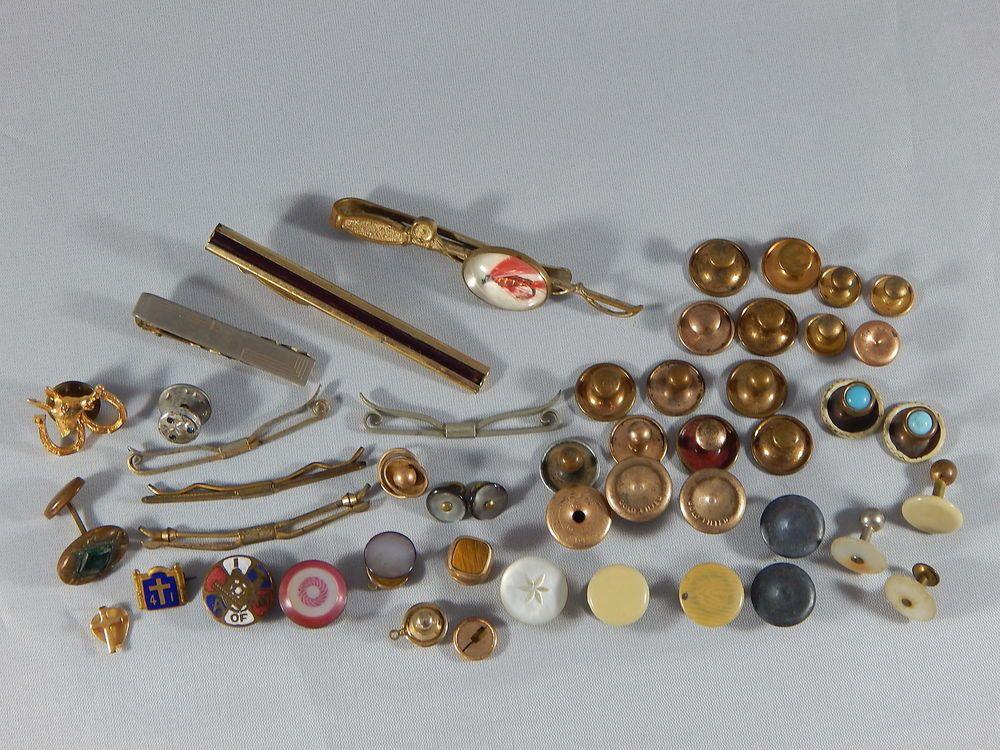52b51017db37 Antique Vintage Mixed Lot 14k GF Men's Cuff Buttons Tie Bars Tuxedo Button  Studs #Unbranded