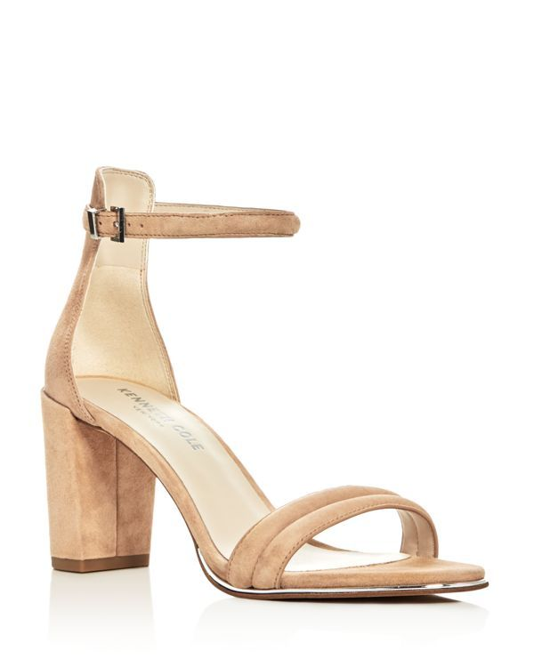 8fd5c5a031f9 Kenneth Cole Lex Suede Ankle Strap Block Heel Sandals   Suede upper,  synthetic lining,