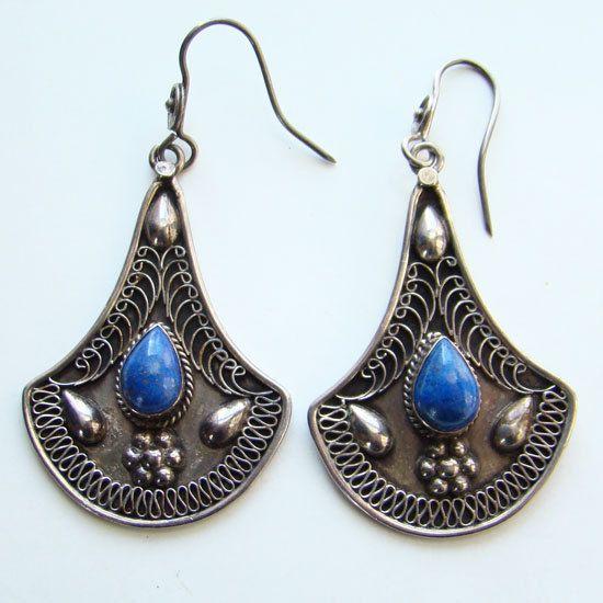 Vintage Hippie Style Pierced Earrings Sterling by redroselady, $59.00