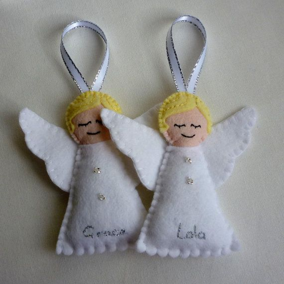 Personalised felt angel handmade ornament by