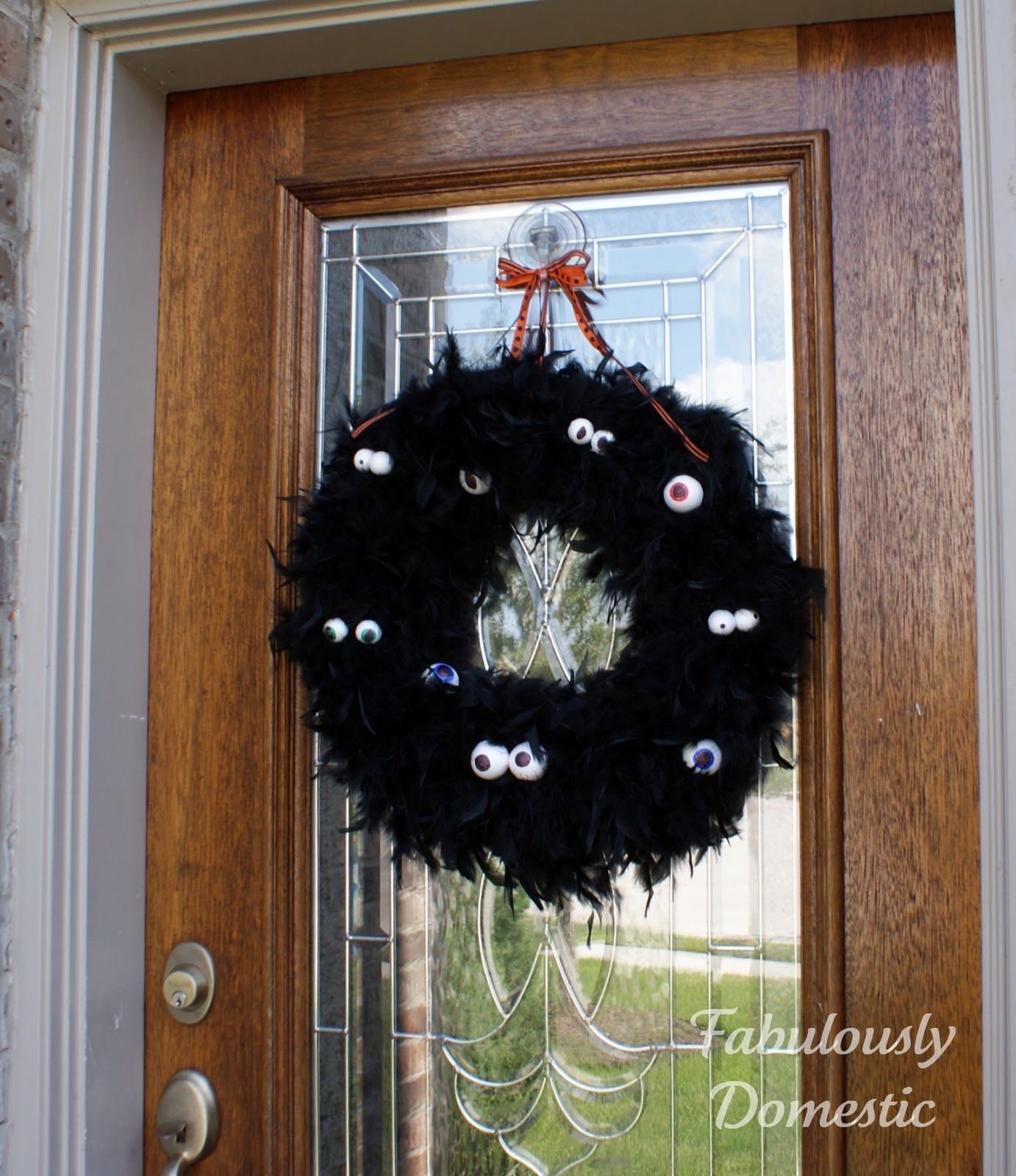 halloween feather wreath Domestic Pinterest Project - Day 20 - Halloween Door Decoration Ideas
