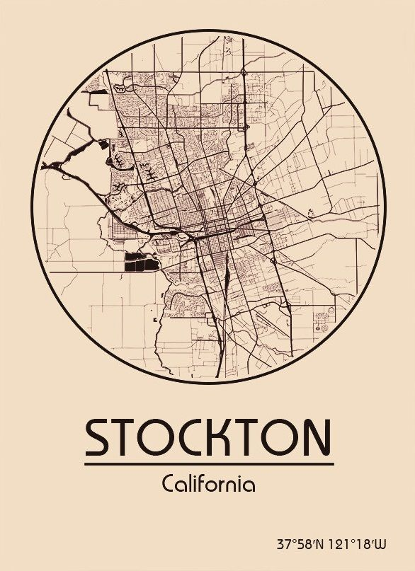 Karte / Map ~ Stockton, Kalifornien / California ...